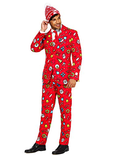 Opposuits Christmas Suits for Men in Different Prints – Dapper Decorations– Ugly Xmas Sweater Costumes Include Jacket Pants & Tie + Free Beanie – US 38
