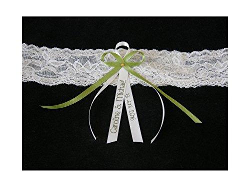 Candle making Strumpfband beige elastischer Spitze mit Namen grün