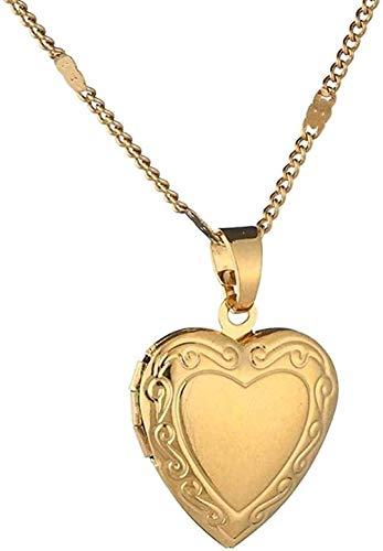 Yiffshunl Halskette Frau Gold Farbe Herz Medaillon Anhänger Halskette Frauen Schmuck Romantische Herzkette