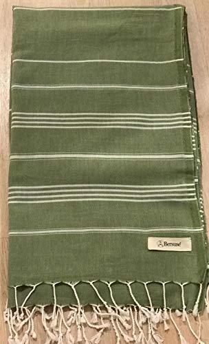 Bersuse 100% Algodón - Anatolia XXL Manta Toalla Turca - Multiusos Colcha de Cama, Funda de Sofa - Fouta para Baño y Playa - Oeko-Tex - 155 x 210 cm, Verde Oliva