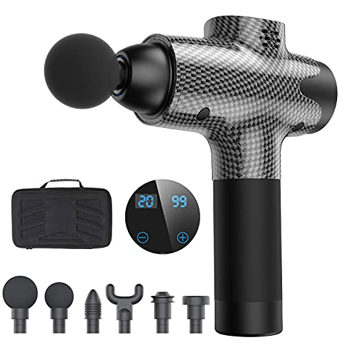 Massage Gun for Athletes, Upgrade Percussion Muscle Massage Gun for Athletes, Handheld Deep Tissue Massager (Black),Electric Cordless Body Massage Gun with 20 Speeds and 6 Strong Elasticity Heads