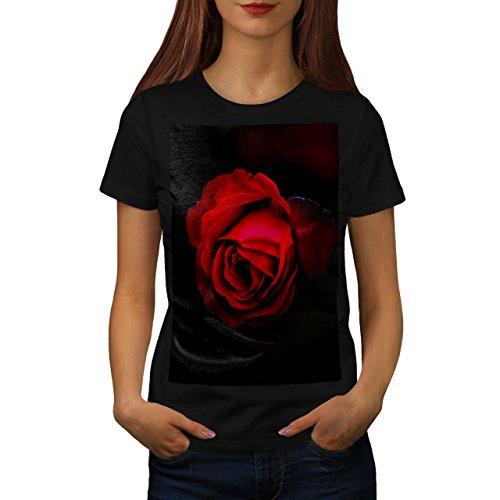 wellcoda Schönheit rot Rose Frau T-Shirt Romantisch Lässiges Design Bedrucktes T-Shirt