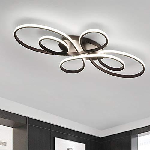 Lámpara de techo LED regulable salón pasillo lámpara de techo diseño de flores lámpara decorativa con mando a distancia brillo y color de luz ajustable diseño de mariposas color blanco y negro Lámpara