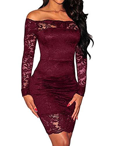 KIDSFORM Sukienka mini z odsłoniętymi ramionami, koronkowa w stylu vintage, Czerwone wino A, M