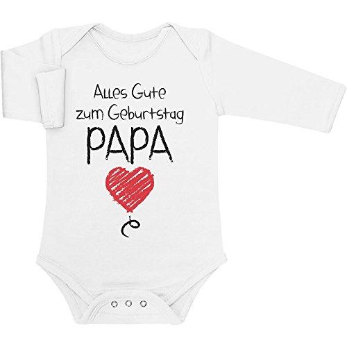 Shirtgeil Alles Gute Zum Geburtstag Papa - Vater Geschenk Baby Langarm Body 6-12 Monate Weiß