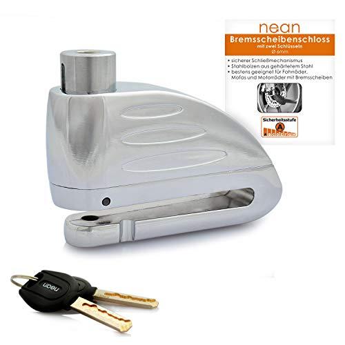 nean Bremsscheiben-Schloss für Fahrrad und Motorrad mit 2 Sicherheits-Schlüssel Ø 6mm Silber