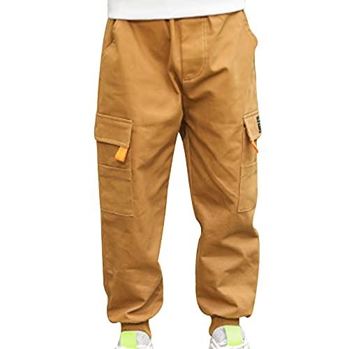 Aislor Kids Boys Sports Cargo Trousers Jogging Street Hip Hop Dance Pants Elastic Waist Bottoms with Pockets Khaki 10-12 Years