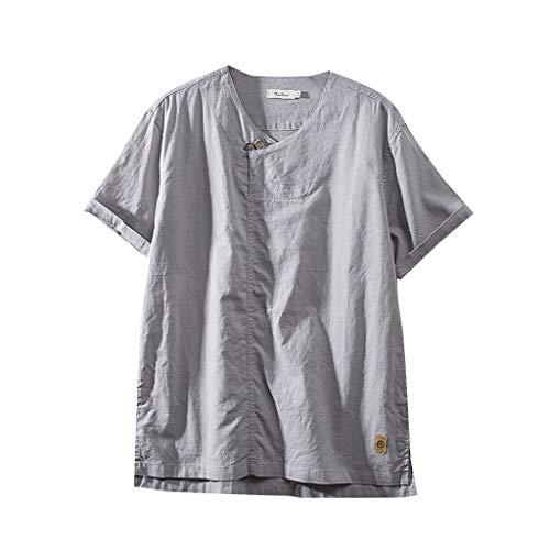 Tyoby Herren Beiläufig T-Shirt Leinen Baumwolle Lockerer Unregelmäßiger Saum Kurzärmliges Tops (Grau,XXL)