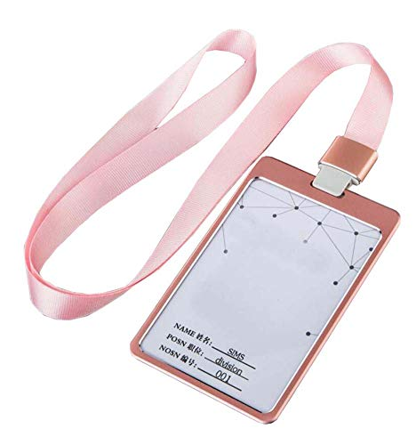 Aluminum Alloy Vertical Style ID Card Badge Holder with Neck Lanyard Strap 3PCS, 11