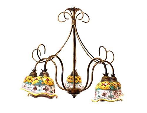 Ilab Lámpara de techo de hierro forjado 5 luces con cerámica coll. Julia, monta 5 bombillas E14 casquillo pequeño de 40 W,diámetro:62cm,altura mínima:70cm,altura máxima:120cm (50 cm cadena ajustable)