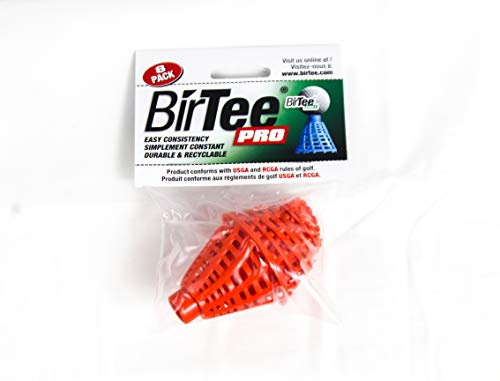 BirTee Pro Winter | Mat Golf Tees - 8 Pack (Orange) | Perfect For Indoor Or Outdoor Games | Great For Beginner And Expert Athletes | Best Quality Plastic Tee Holder | 8 Different Height Variation Kit