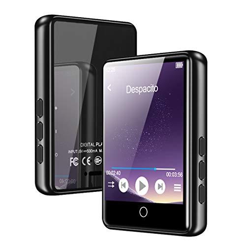 MP3 Player, Bluetooth 5.0, HiFi Verlustfreier Mp3 Player 2.4-Zoll LCD Touchscreen Musikplayer mit Lautsprecher Video FM E-Book Aufzeichnung Unterstützt 128G SD (Kopfhörern +USB+ Deutsches Handbuch)