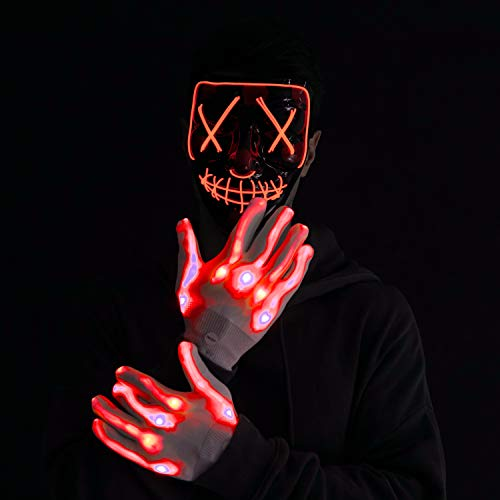 Halloween Led Mask Light Up Scary Mask and Gloves for Cosplay Costume (Red)