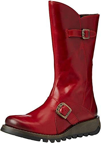 Fly London Mes 2, Damen Langschaft Stiefel , Rot (Red 001), 39 EU (6 Damen UK)
