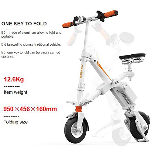 Airwheel E6 Folding Elektro-Scooter Mini Electric Elektro-Scooter Erwachsene Lithium Beweglicher Rucksack Electric Vehicle Scooter (Bereich 25-35Km)