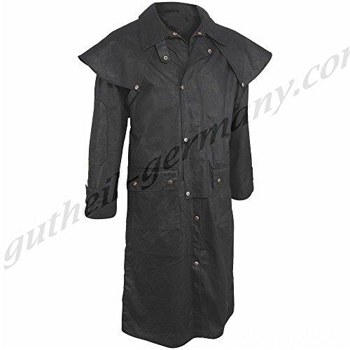 gutheil-germany Oilskin Mantel Reitmantel Wachsmantel Staubmantel Western Duster schwarz Black (XS)