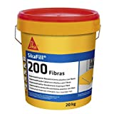 SikaFill 200 Fibras, Blanco, Pintura acrílica con fibras de vidrio para impermabilización de cubiertas visitalbles y protección de pareces medianeras, 20kg