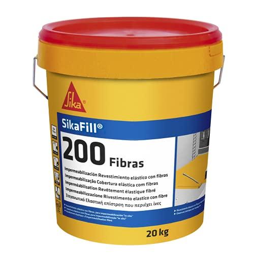 SikaFill 200 Fibras, Gris, Pintura acrílica con fibras de vidrio para impermabilización de cubiertas visitalbles y protección de pareces medianeras, 20kg