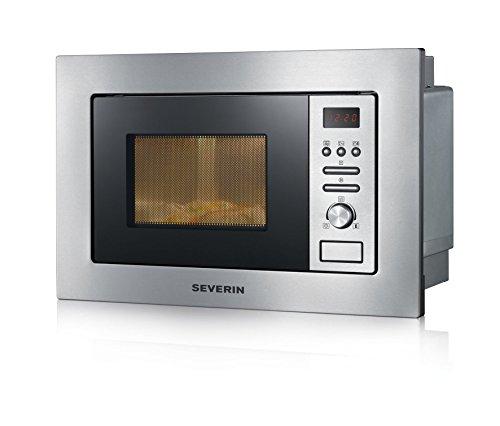 SEVERIN 2-in-1 Einbau-Mikrowelle, Mit Grillfunktion, Inkl. Grillrost und Drehteller (Ø 24,5cm), 800W, MW 7880, Edelstahl/Schwarz