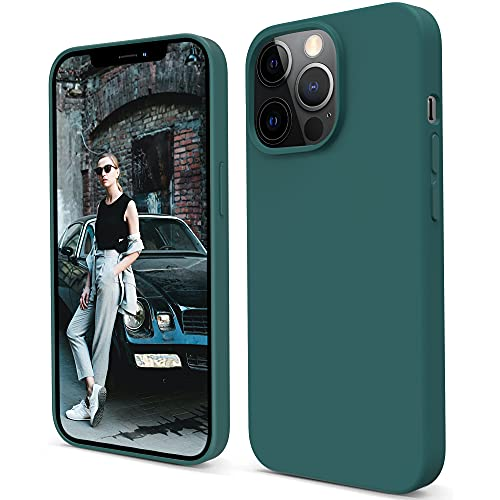 Migeec Liquid Silicone Case Compatible with iPhone 2021 Pro Max Slim Soft Drop-Proof Microfiber Lining Protective Case (Pine Green)