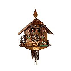 Cuckoo Clock moveable kissing Couple, turning mill-wheel