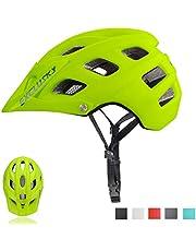 Exclusky Casco de Bicicleta de montaña, Casco Adulto IN-Mold 21 Agujeros con Visera extraíble Ajustable y Ligero para la protección de Seguridad del Ciclo,56/61cm