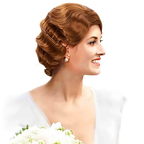 MEDISIFA 1920s Light Brown Wig for Women Short Finger Wave Party Wig...