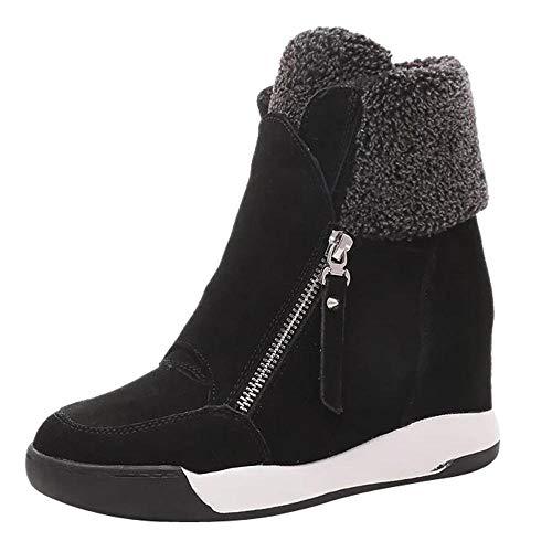 Logobeing Botas Mujer Invierno/Botas de Mujer Casual Zapatos de Muffin con Cuñas Cordones Botas Zapatillas de Deporte Botines Mujer Tacon Calientes Altas Boots Nieve Plataforma (39,Negro)