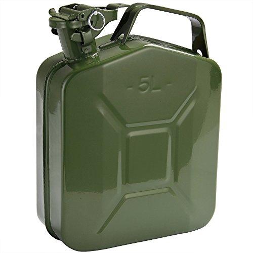 Monzana Benzinkanister 5 L Sicherheitsbügel UN-Zulassung Metall Diesel Kraftstoffkanister Kanister Behälter