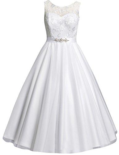 Kurze Brautkleider Vintage 60er Spitze A-Linie Rückenfreie Hochzeitskleider Standesamt Kleider Gürtel Weiß 32