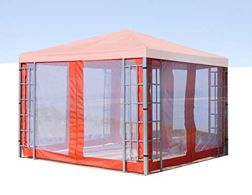 QUICK STAR 4 Side Panels with Mosquito Net 300x195cm Orange-Red for Gazebo 3x3m