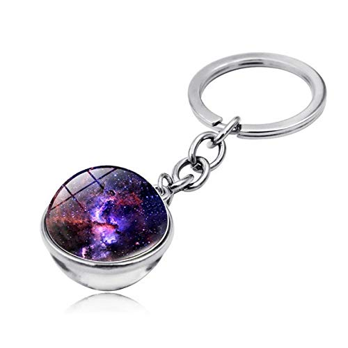 XXBY Llaveros Bola de Cristal de Doble Cara Galaxy Coche Llavero Colgante Llavero Universo Imagen de Cristal Hecha a Mano Declaración Keyring Regalo de cumpleaños Decoraciones (Color : K2420 2)
