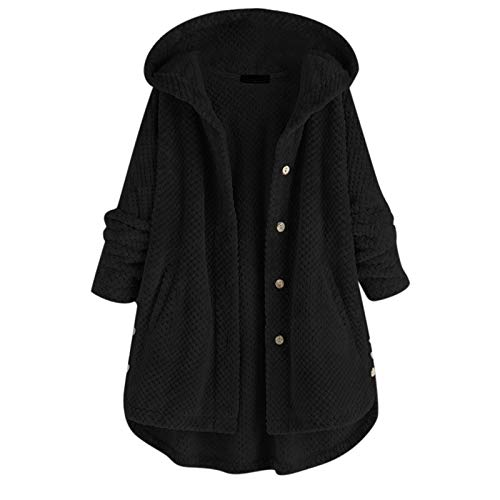 Sauahy Ladies Tops for Womens Wool Zipper Coats Solid Color Cardigans Winter Warm Hooded Casual Outerwears Black
