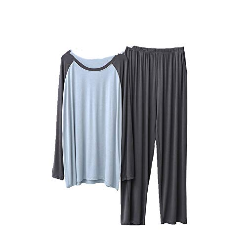 Los hombres pijamas otoño elástico color coincidencia pantalones largos