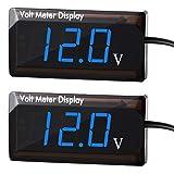 BBTO 2 Piezas Voltímetros Digital de Coche 12V DC Voltímetro de Energía con Pantalla LED para Coche Moto, Azul