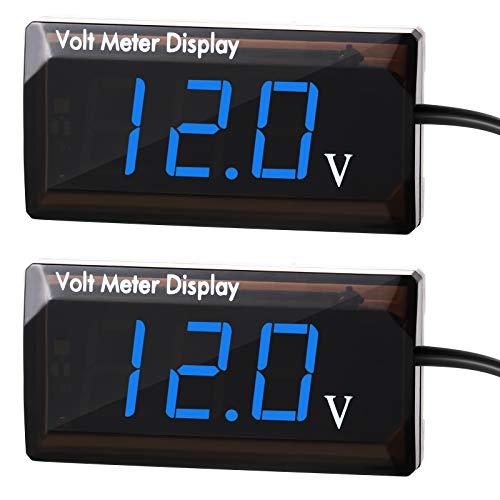 2 Stück DC 12V Auto Digital Voltmeter Anzeige LED Anzeige Spannung Leistung Energie Voltmeter für Auto Motorrad, Blau