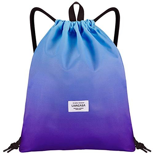 LIVACASA Mochilas de Cuerdas Hombre Mujer Grandes Bolsas de Cuerdas Gimnasio Cordones Cómodos Ajustable con Asa A Prueba de Agua Azul y Purpura Degradado