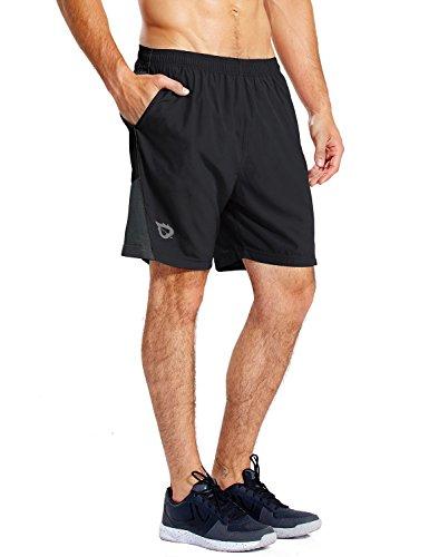 """BALEAF Men's 7"""" Running Shorts with Mesh Liner Zipper Pocket for Athletic Workout Gym Black Medium"""