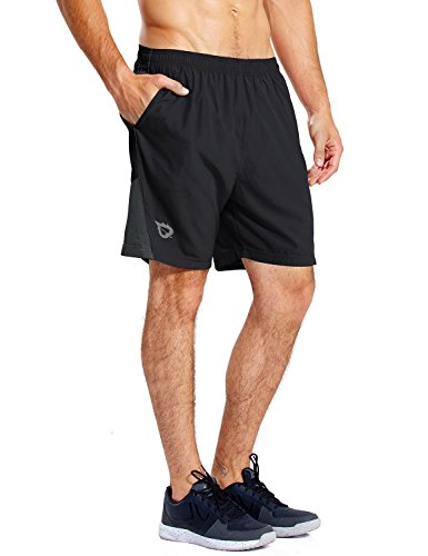 BALEAF Men's 7' Quick-Dry Running Shorts Workout Athletic Shorts Mesh Liner Back Zip Pockets Jersey Shorts Black Size M