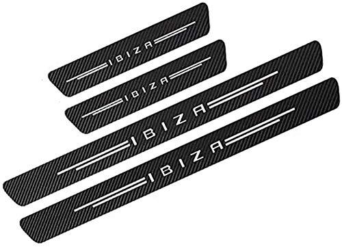 Lyclyb 4PCS Coche Fibra de Carbon Barra de Umbral para Seat Ibiza, Exterior Protector Antideslizante Antiarañazos Accesorios