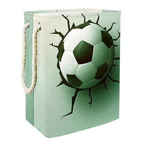 MUOOUM Cesta de lavandería deportiva de fútbol con asa de cuero duradera, con cordón impermeable y plegable