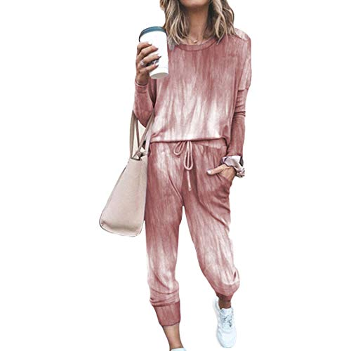 Damen Sternmode Freizeitanzug Hausanzug Schlafanzug Loose Fit Jogginganzug Trainingsanzug Tracksuit (#Rot, L)