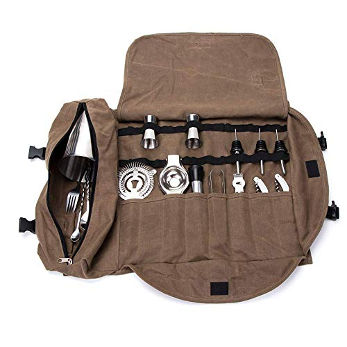 QEES Barkeepertasche, tragbare große Bar-Sets Rolltasche, Cocktail-Wergzeugtasche GJB309 (Kaffeebraun)