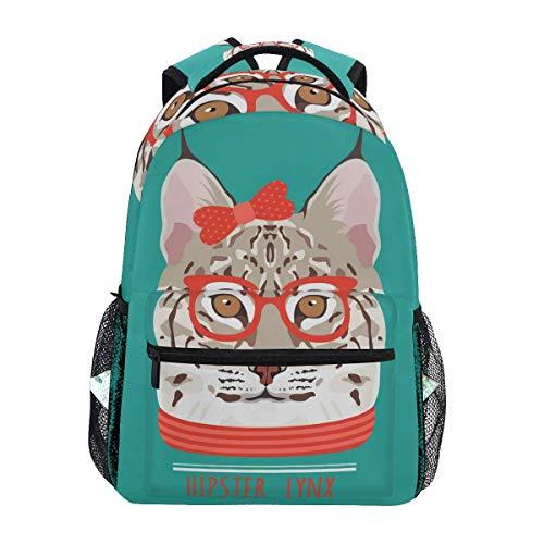 Cartoon Lynx Cat Bookbag for Boys Girls Teens Casual Travel Bag Laptop Bag 11.5x8x16 in.