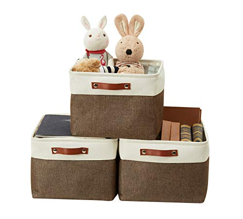 DECOMOMO Foldable Storage Bin | Collapsible Sturdy Cationic Fabric Storage Basket Cube W/Handles for Organizing Shelf Nursery Home Closet (Brown and White, Extra Large - 15.8 x 12.5 x 10-3 Pack)