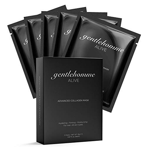 Gentlehomme Collagen Face Mask for Men - Hydrating Face Mask Sheet - Anti Aging Skin Care for Men - Hydro Gel Facial Sheet Mask - All Skin Types - Box of 5 Individually Wrapped Facial Masks