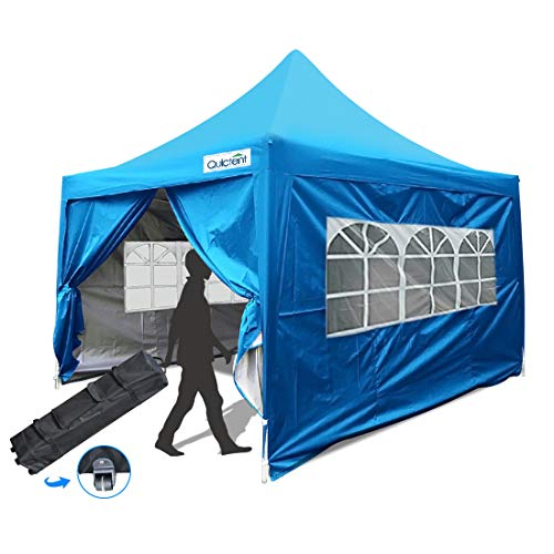 Quictent Silvox 10x10 EZ Pop Up Canopy Gazebo Party Tent with Sidewalls & Roller Bag Waterproof Pyramid Roof (Beige)