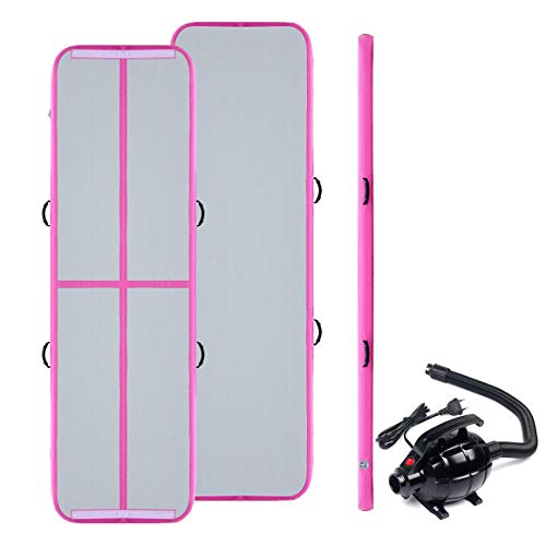 Triclicks Tappetino da Gonfiabile Mat Air Tumbling Track con Pompa Elettrica per Ginnastica/Yoga/Taekwondo/Materassino da Campeggio/Piscina, EU Plug (300x90x10cm) (Verde) (Pink)