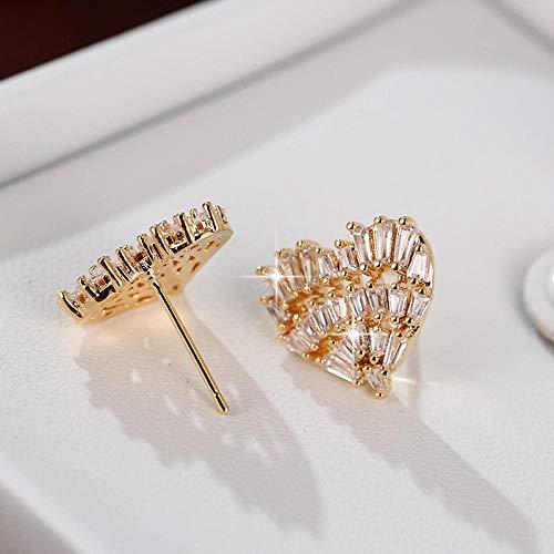 Earrings Women Studs Women Zircon Heart Shaped Earrings Fashion Simple Banquet Earrings Gift-Gold-Color