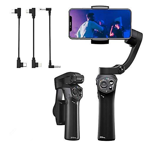 SNOPPA Atom Smartphone Gimbal Stabilisator Kabelloses Laden Eingebauter Mikrofonanschluss, 24 Betriebsstunden für iPhone X XS max XR 8 7 6 Plus, Samsung S9+ S8+ 9 8 7 6, Huawei (Schwarz)